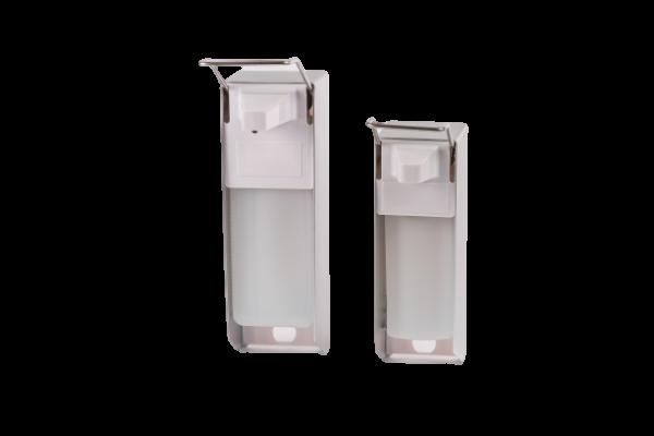 Seifen- und Desinfektionsmittelspender Aluminium, kurzer Armhebel, 500 ml inkl.